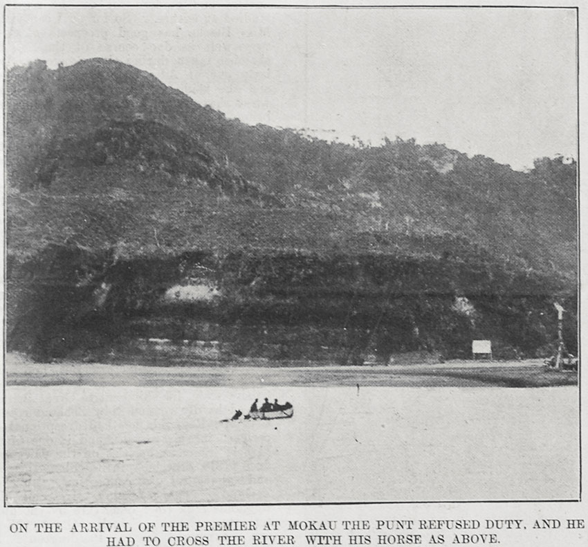 Richard Seddon crossing the Mokau River by rowboat.