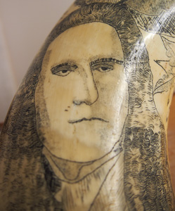 judge who presided over Dennis Gunn's case depicted on scrimshaw bullock horns